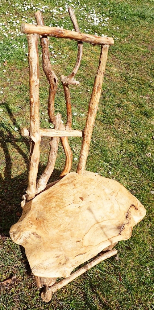 rustic natural wood childrens chair, appr. 27inch