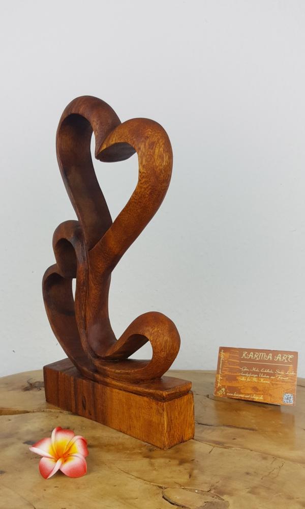 Holzstatue - Doppelherz, ca. 30cm