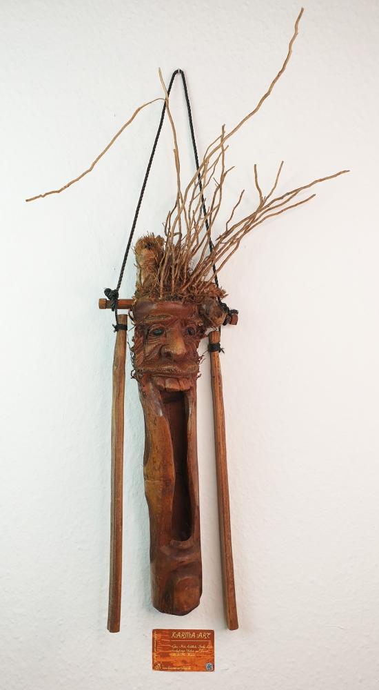 Bambus Maske-Windspiel, ca. 40cm