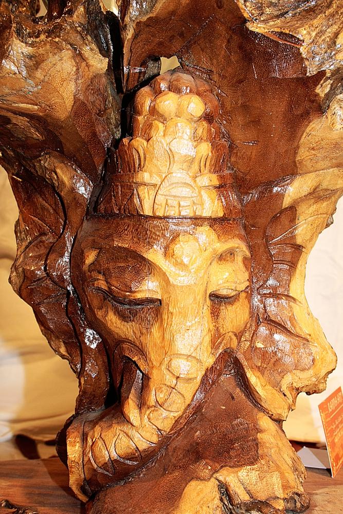Ganesha Teakwurzel mit Glas