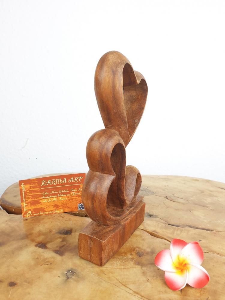Holzstatue - Doppelherz, ca. 20cm