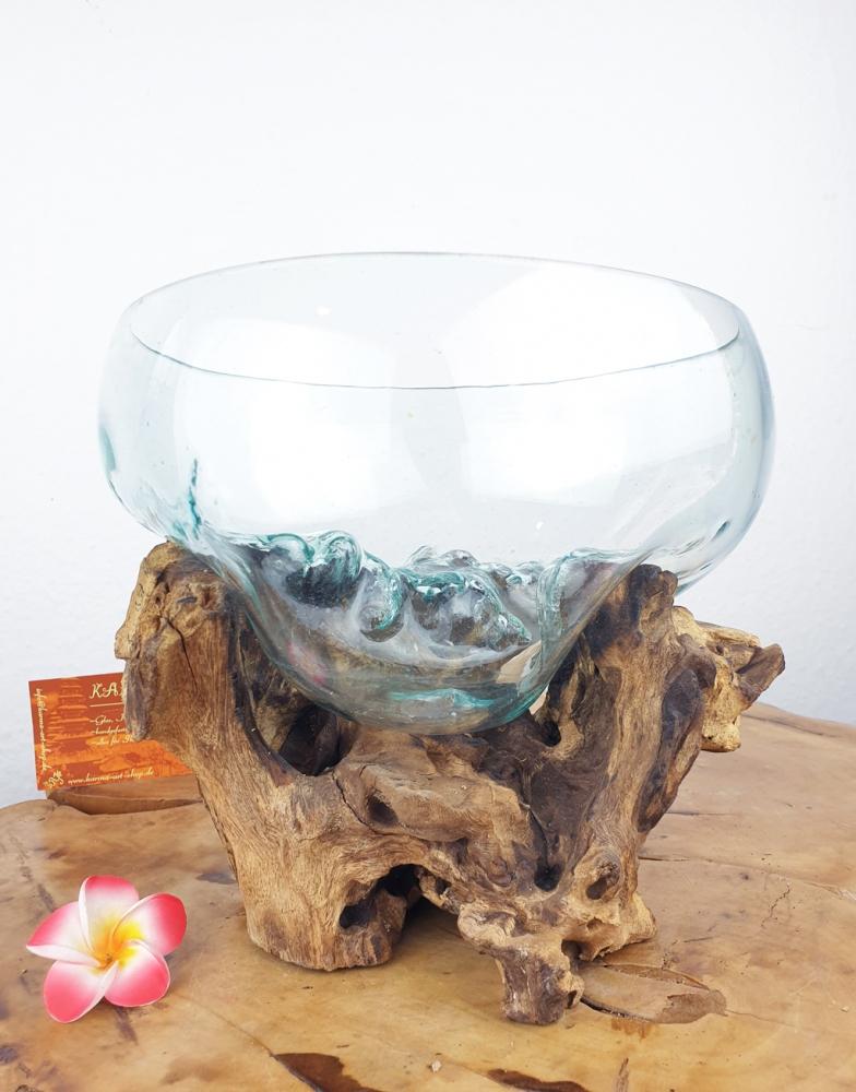 Wurzel mit Glasschale, ca. 24cm