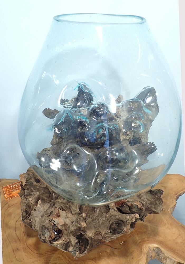 Teakwurzel mit Glas ca. 50cm