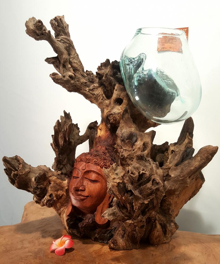 Teakwurzel mit Buddha Gesicht und Glas, ca. 45cm