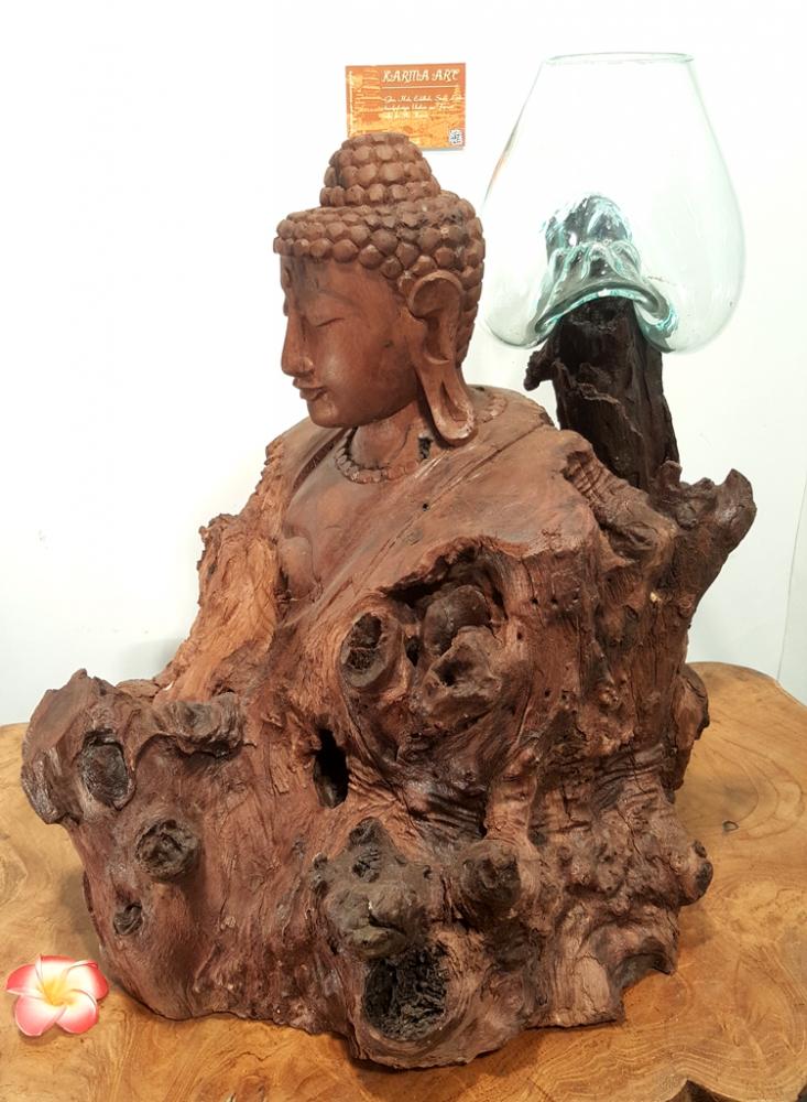 Teakwurzel mit Buddha Büste und Glas, ca. 45cm
