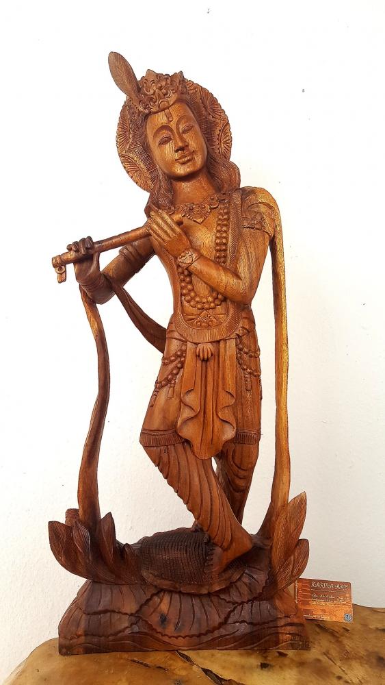 Krishna Statue, Teakholz, ca. 85cm